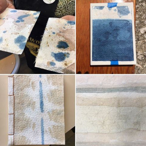 samples of japanese paper embossed and indigo decoration