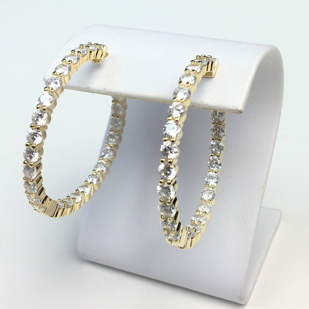 Gold Inside-Out CZ Hoops