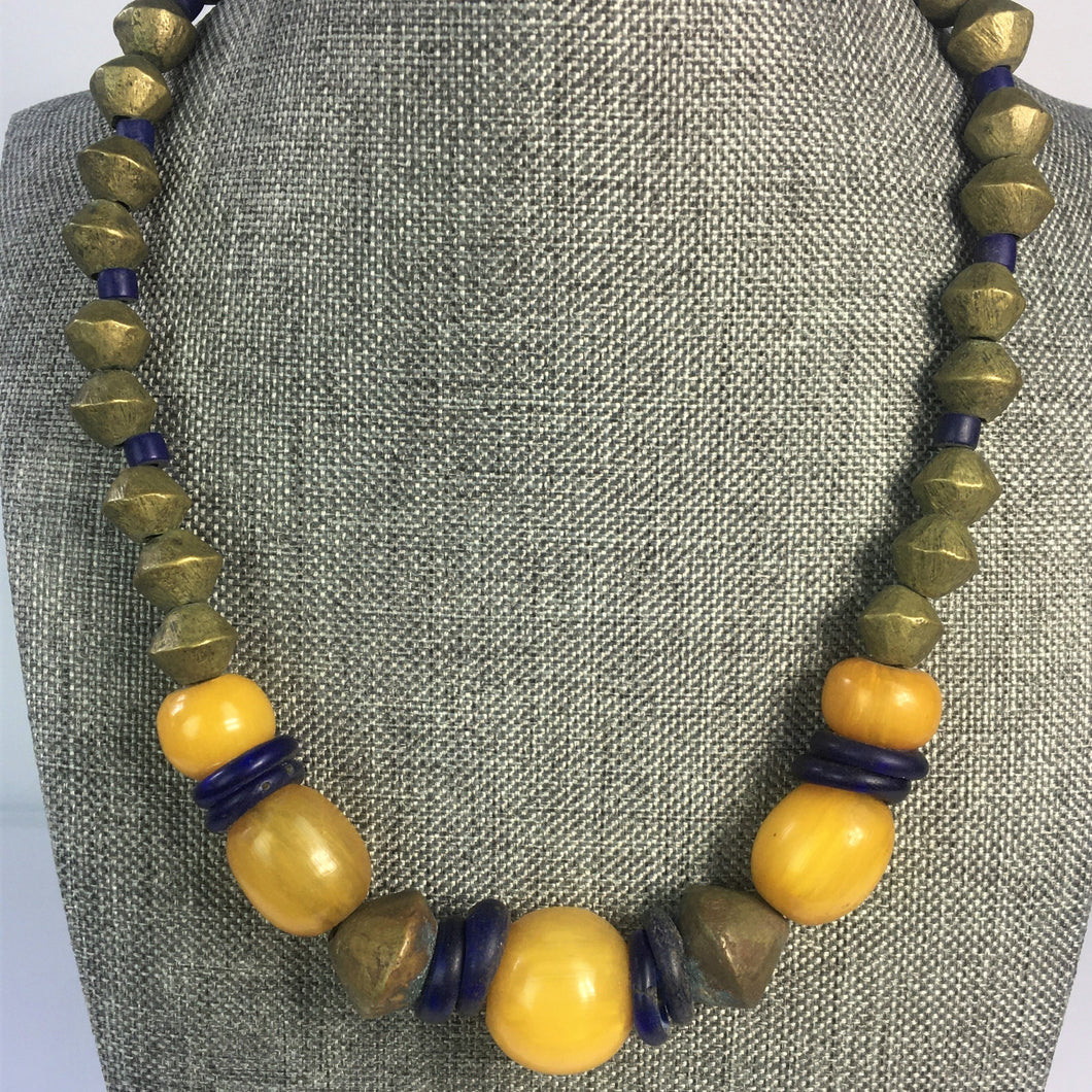 African Brass and Amber Necklace
