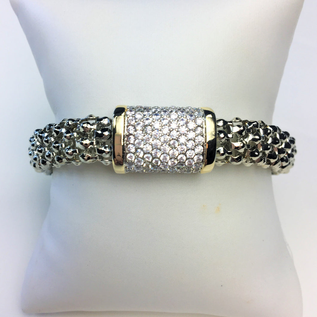 Yurman Inspired Mesh Bracelet with Pave