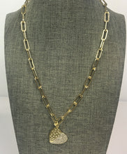 "Load image into Gallery viewer, 16"" Gold Paperclip Link Necklace with Pave Gold Heart Pendant"
