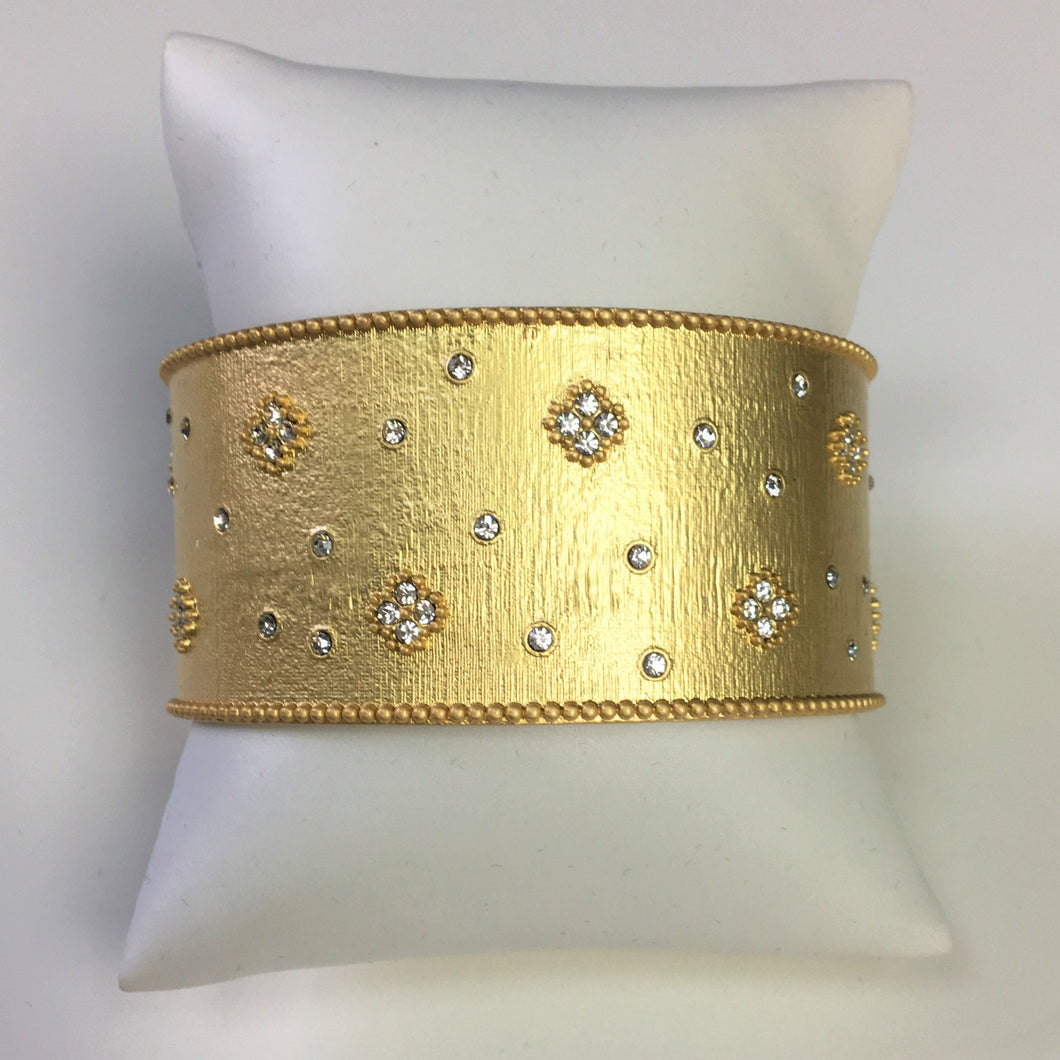 Wide Brushed Gold Designer Bracelet with inset crystals