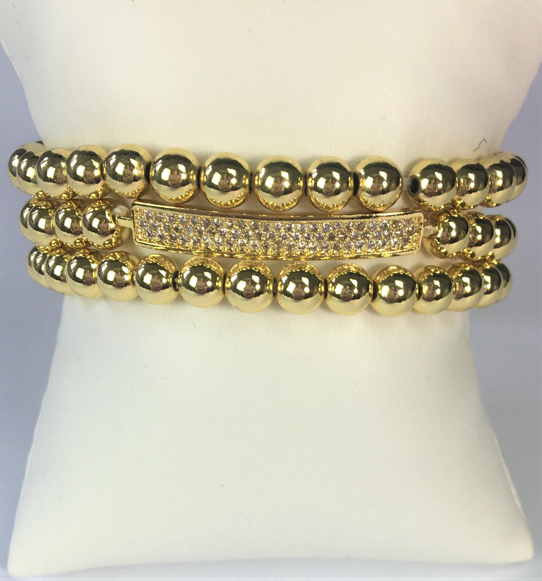 Beaded Gold Bracelet Set of Three