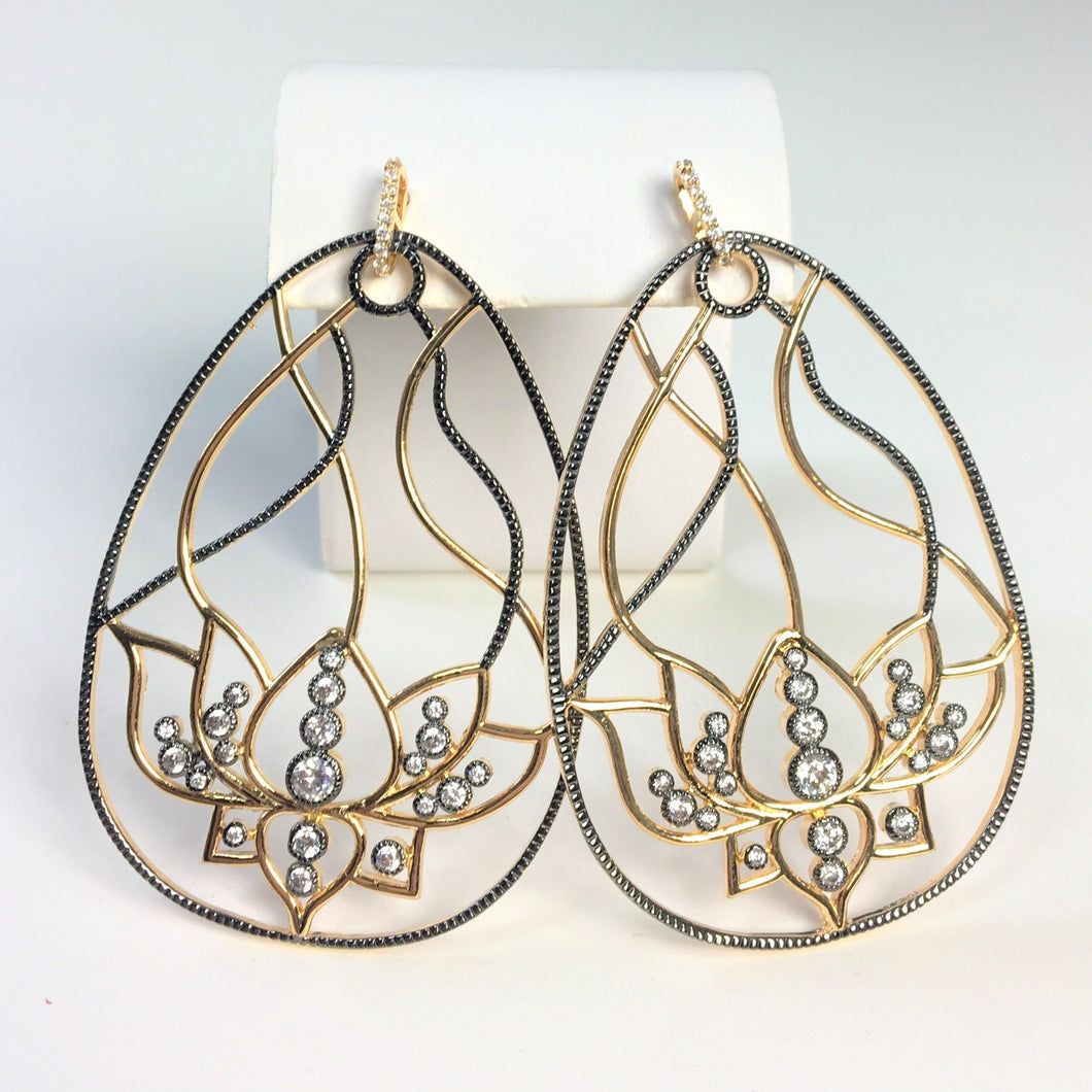 Gunmetal & Gold Finish Earrings