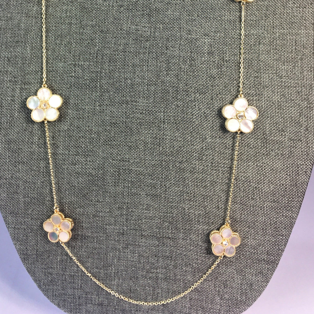 Roberto Coin Inspired Pearl Clover Necklace