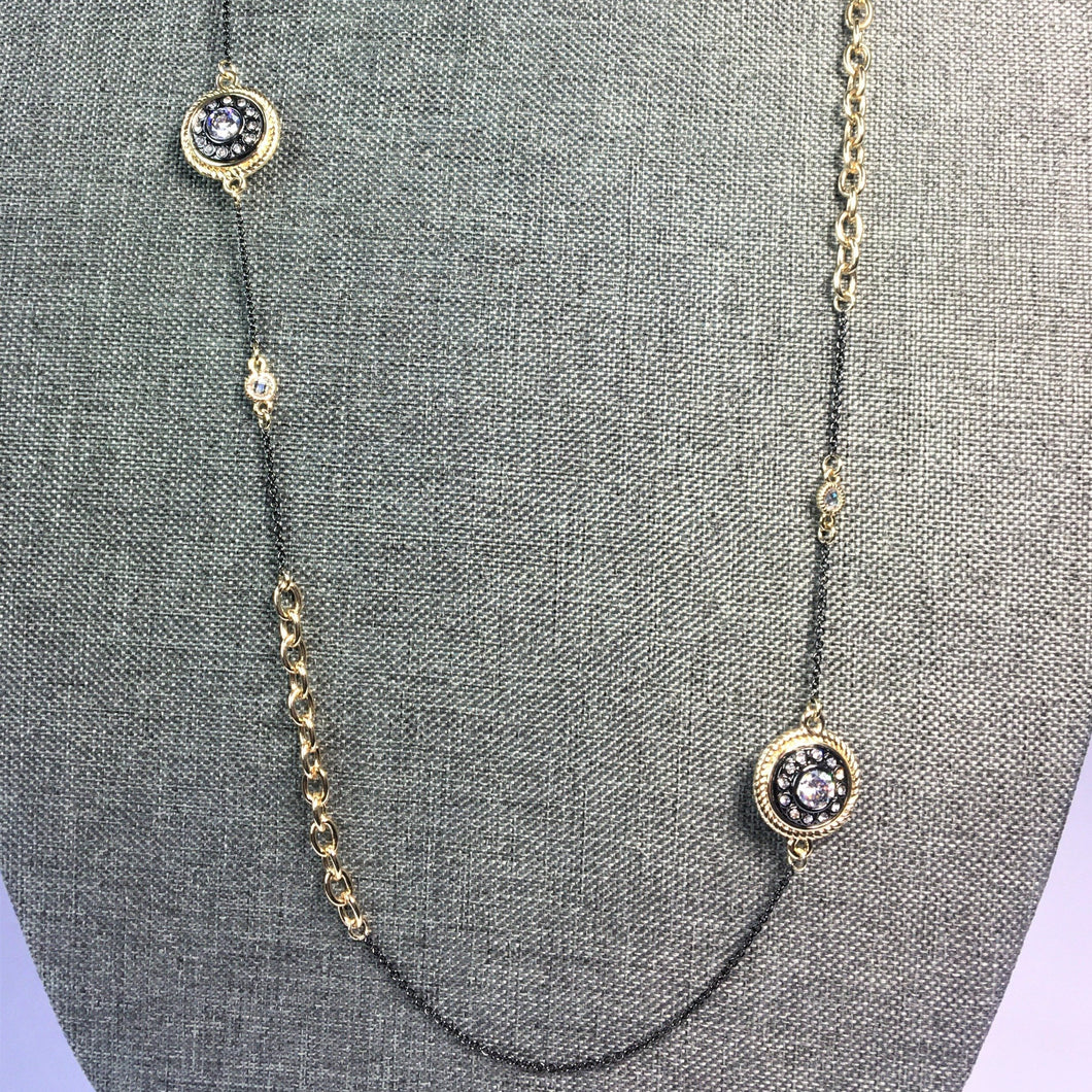 Armenta Inspired Black & Gold Disc Necklace