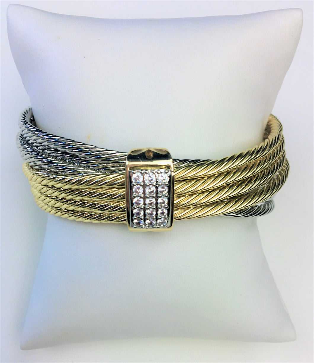 Yurman-Inspired Two-Tone Bangle Bracelet