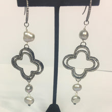 Load image into Gallery viewer, Freshwater Pearl Earrings w/ Pave Clover Drop