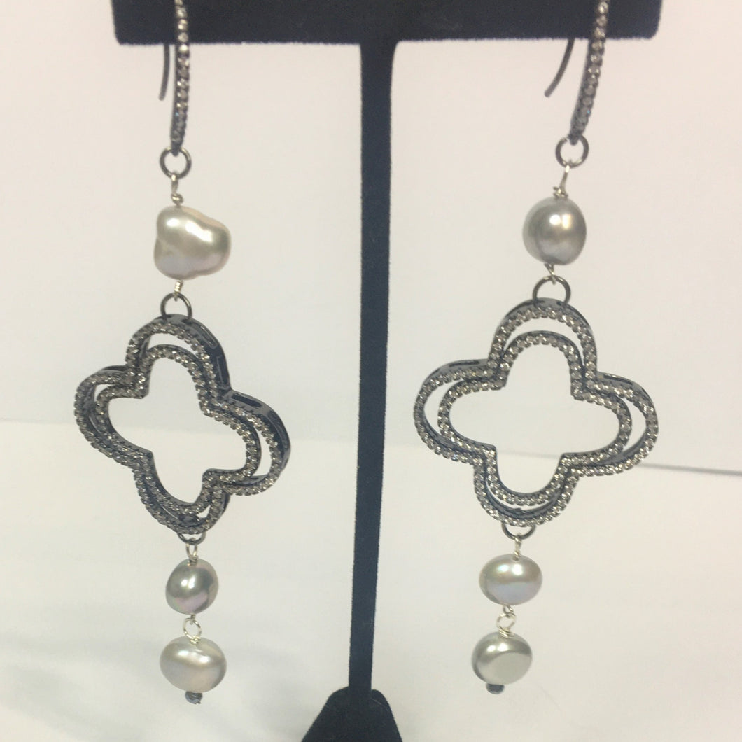 Freshwater Pearl Earrings w/ Pave Clover Drop