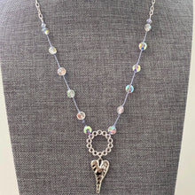 "Load image into Gallery viewer, 18"" Swarovksi Crystal w/ Silver Heart Pendant Necklace"