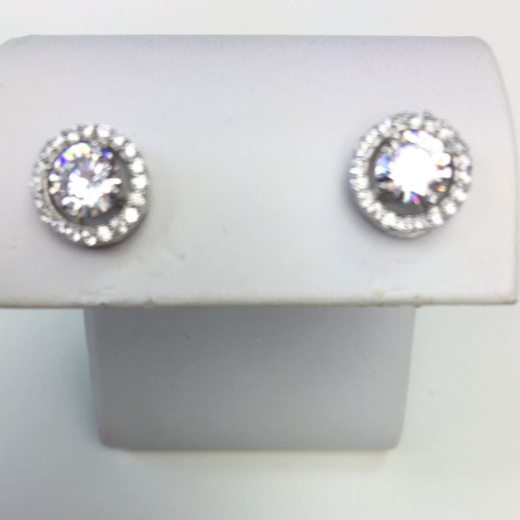 Sterling Silver Halo Stud Earring