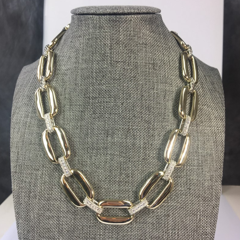 Yurman Inspired Gold Link & Pave Necklace