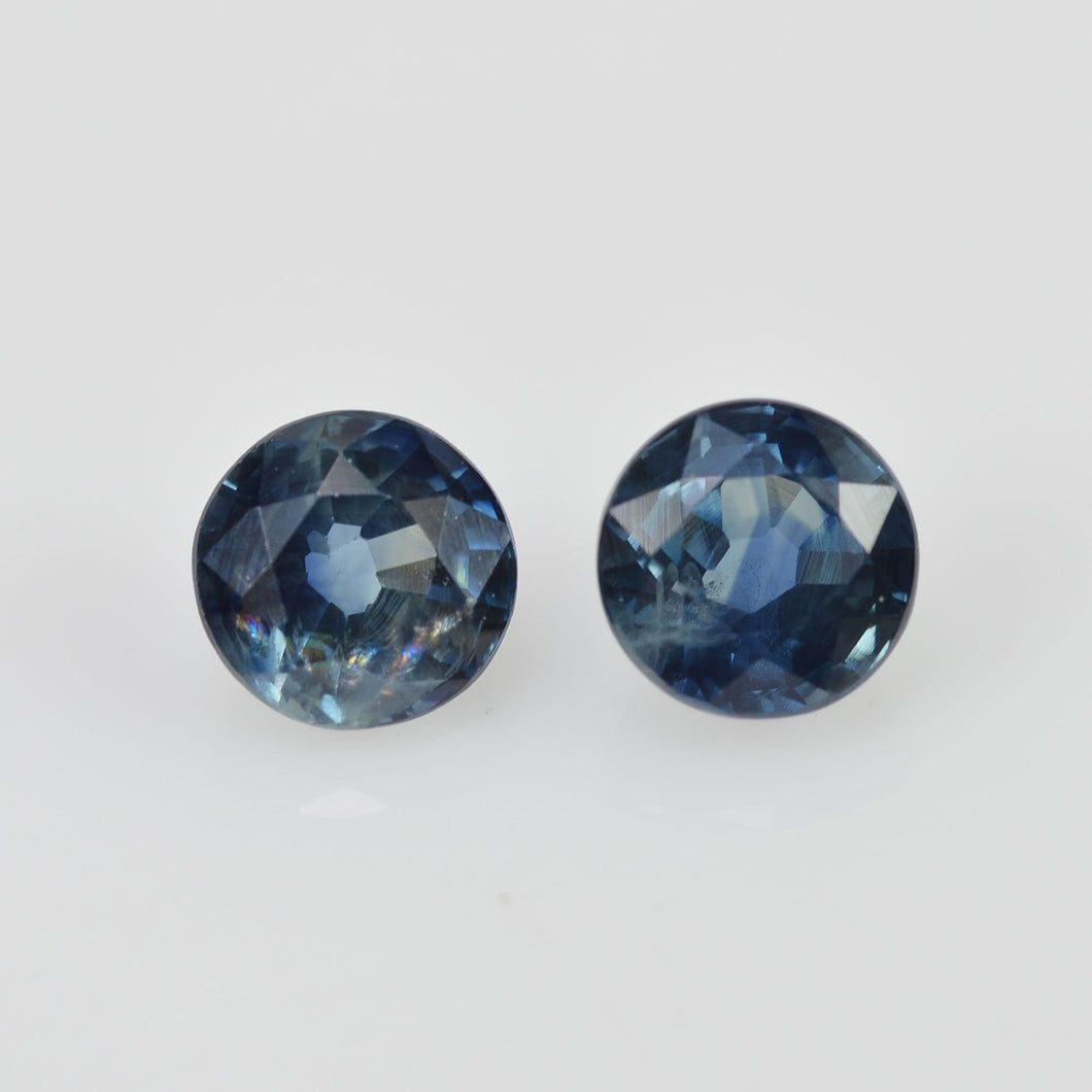 4.3 mm Natural Blue Sapphire Loose Pair Gemstone Round Cut