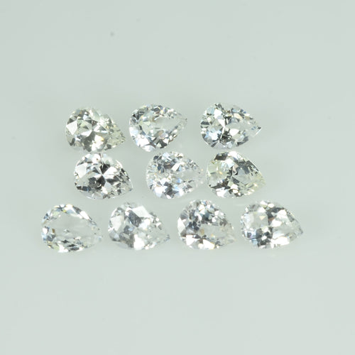 5x4 mm Natural Calibrated White Sapphire Loose Gemstone Pear Cut
