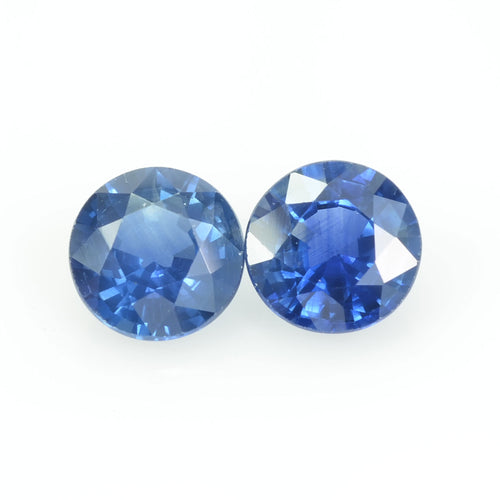 6.5 MM Natural Blue Sapphire Loose Pair Gemstone Round Cut