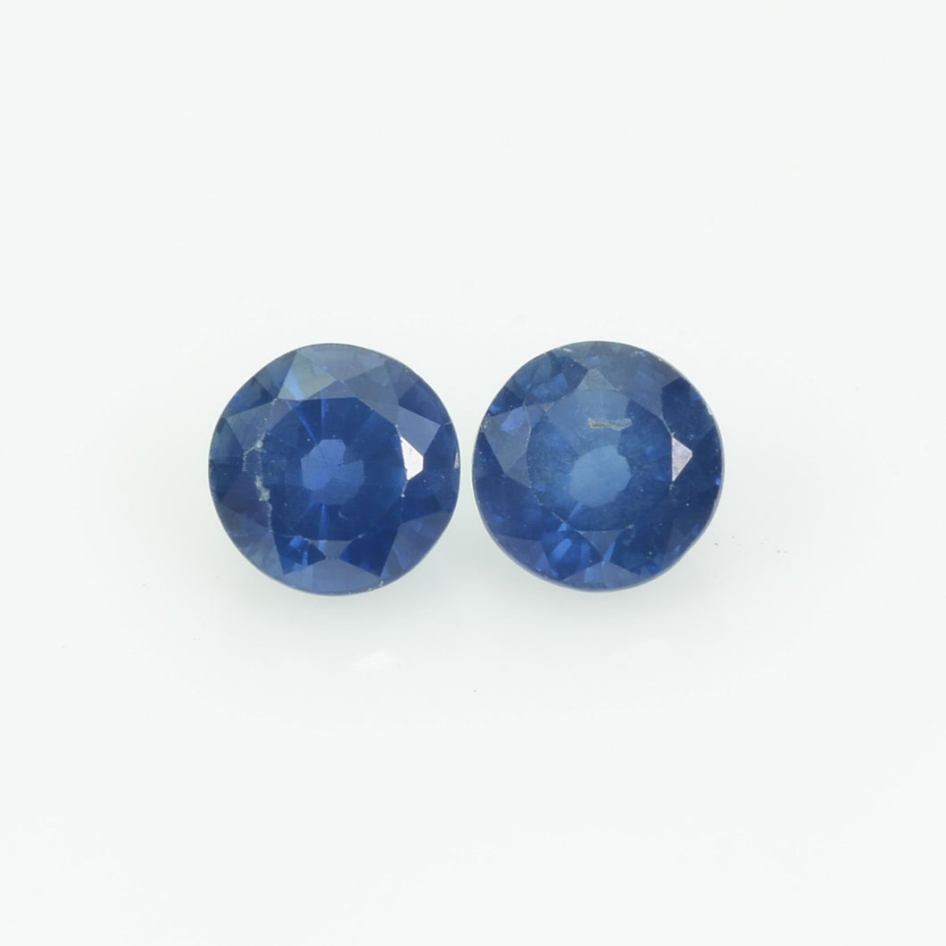 6 MM Natural Blue Sapphire Loose Pair Gemstone Round Cut
