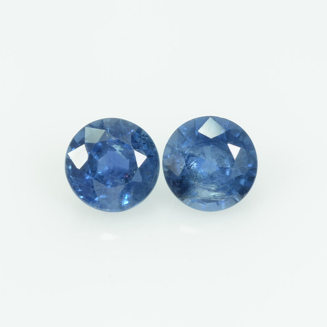 5.5 MM Natural Blue Sapphire Loose Pair Gemstone Round Cut
