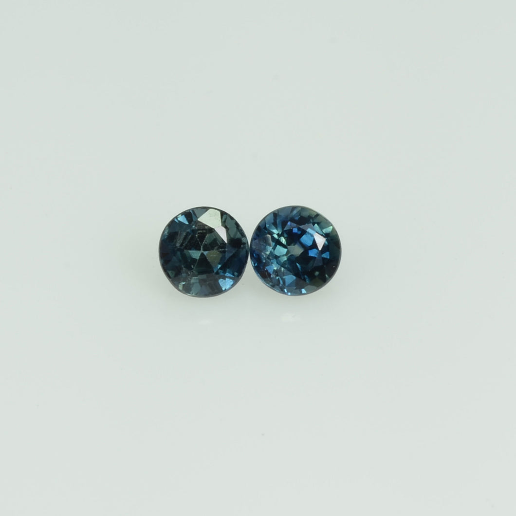 3.4 mm Natural Blue Sapphire Loose Pair Gemstone Round Cut
