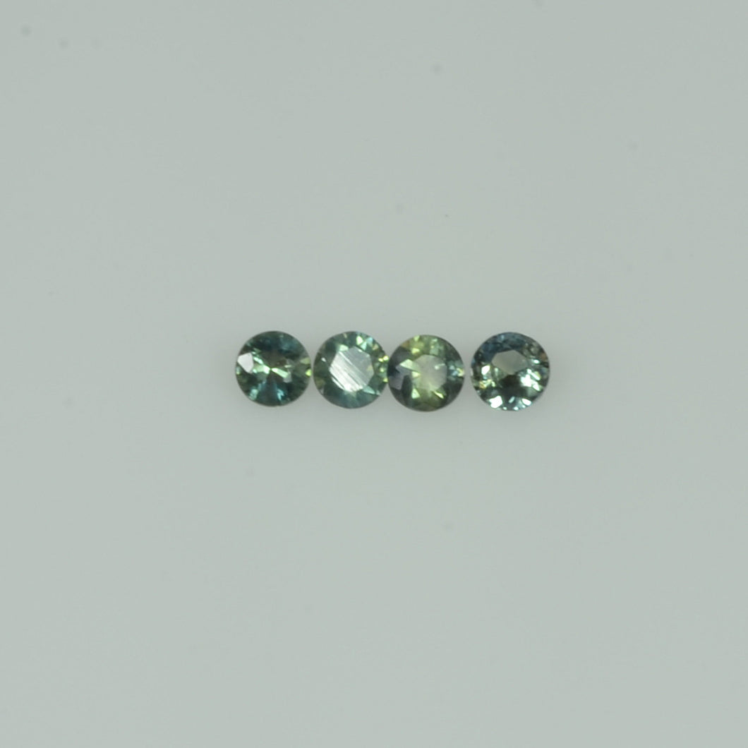 2-3.5 mm Natural Teal Green Sapphire Loose Gemstone Round Diamond Cut Vs Quality Color