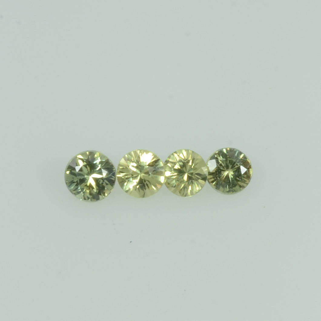 1.4- 3.5 mm Natural Yellowish Green Sapphire Loose Gemstone Round Diamond Cut Color