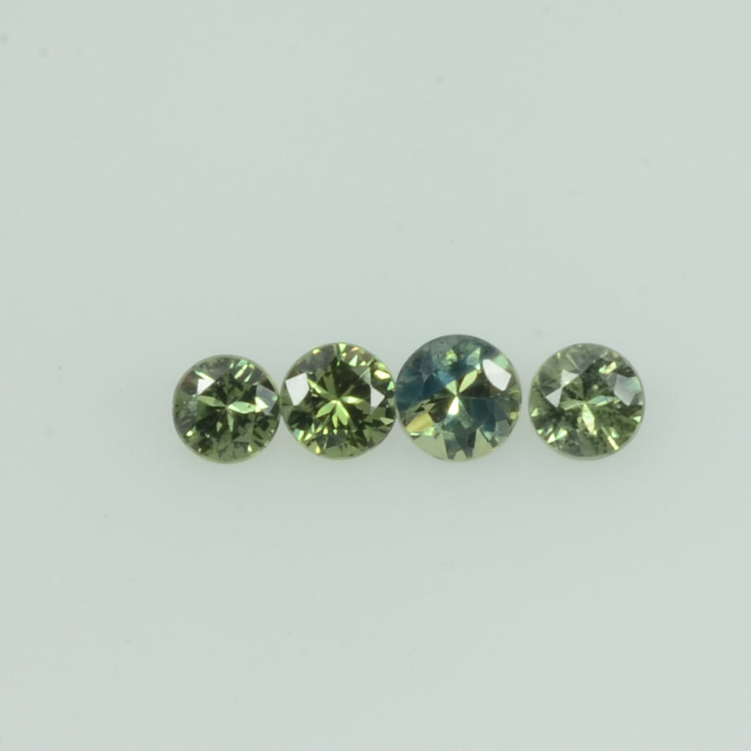 1.4-3.5 mm Natural Teal Green Sapphire Loose Gemstone Round Diamond Cut Color