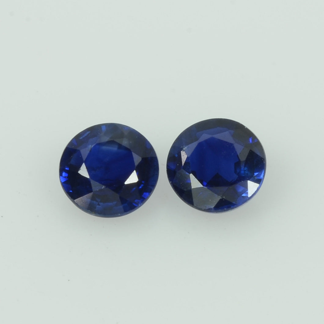 4.5 mm Natural Blue Sapphire Loose Pair Gemstone Round Cut