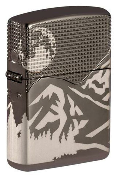 Zippo Mountain Design 360° Laser Engraved, Black Ice Finish Armor Lighter #49299