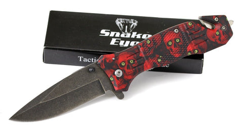 Snake Eye Rescue Style Spring Assist Knife, Skulls, Red #SE-955RSC
