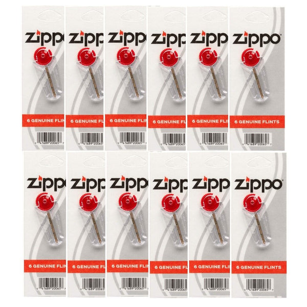 Zippo (12) 6-Piece Flint Dispenser for Zippo Lighters, Carded Flint #2406N_12