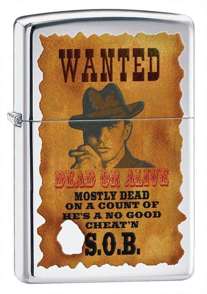 Zippo Wanted Poster, High Polish Chrome #28289