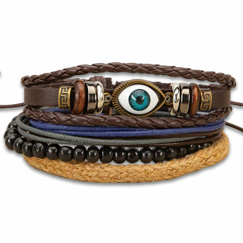 Inner Eye Stacked Bracelets- Set of 4 - Leather, Wooden Beads, Jute #BK4773