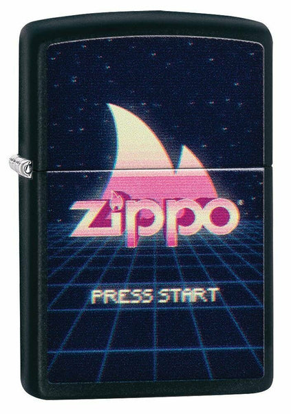 Zippo Retro Gaming Design, Press Start, Black Matte Windproof Lighter USA #49115