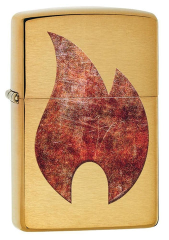 Zippo Rusty Flame Design, Brushed Brass Finish, Windproof Lighter #29878