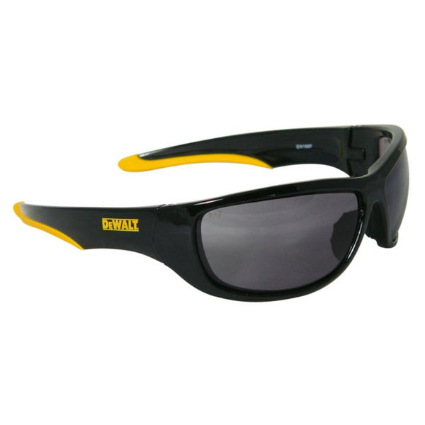 DeWalt Dominator Safety Glases, Black/Yellow Frame, Smoke Lens #DPG94-2D