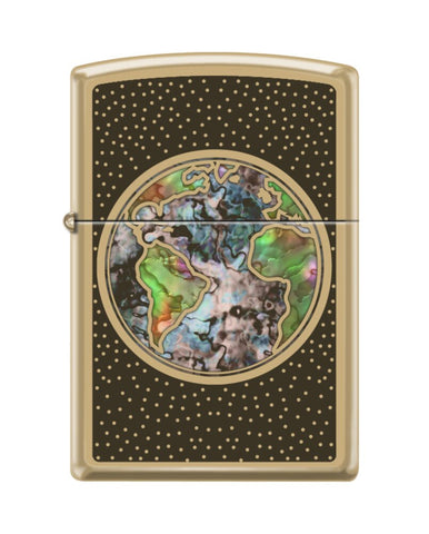 Zippo Planet Earth High Polish Solid Brass Finish Windproof Lighter #254B-082895