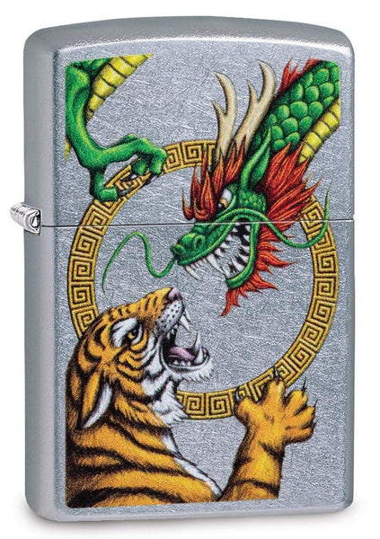 Zippo Chinese Dragon Vs Tiger, Street Chrome, Genuine Windproof Lighter #29837