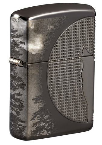 Zippo Wolf Design, Textured 360° Armor Black Ice Finish Windproof Lighter #49353