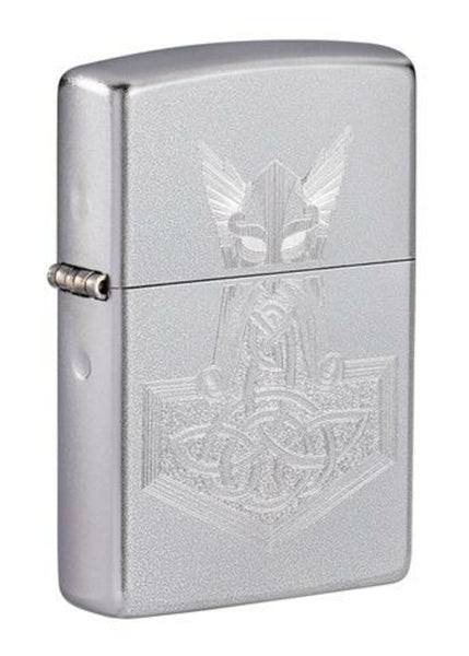 Zippo Hammer of Thor Mythology, Satin Chrome Finish, Windproof Lighter #49249