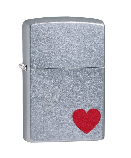 Zippo Love, Red Heart Lighter, Street Chrome Finish #29060