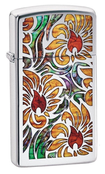 Zippo Fusion Floral Design, High Polish Chrome, Slim Windproof Lighter #29702