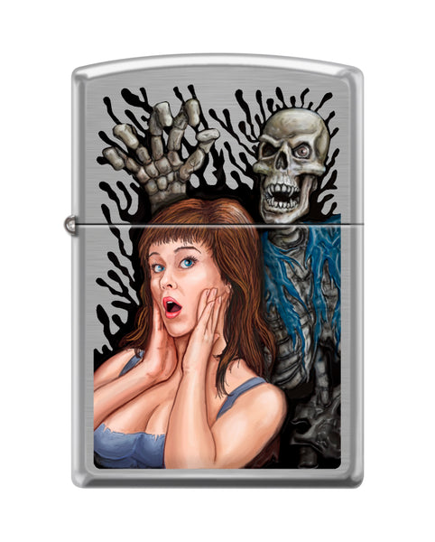 Zippo Scared Zombie Design, Brushed Chrome Finish, Windproof Lighter #200-082829