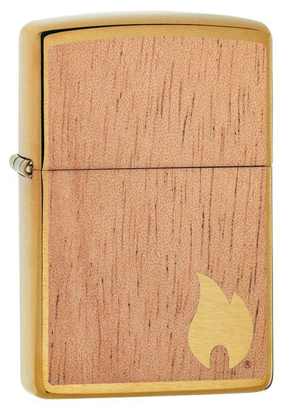 Zippo WOODCHUCK Flame, 100% Real Wood, Brushed Brass Windproof Lighter #29901