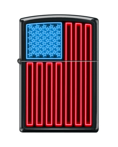 Zippo Neon Flag USA, Black Matte Finish, Windproof Lighter #218-082789