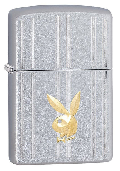 Zippo Playboy Bunny, Brass Logo, Satin Chrome, Genuine Windproof Lighter #29777