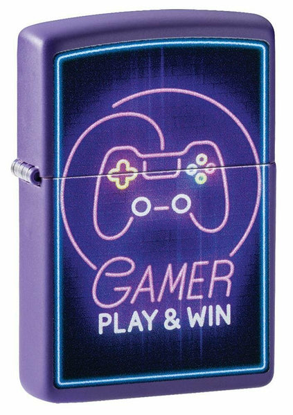 Zippo Gamer Neon Xbox Remote Design, Purple Matte Finish Pocket Lighter #49157