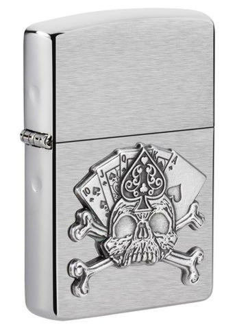 Zippo Card Skull Casino Gambling 3D Emblem, Brushed Chrome Finish Lighter #49293