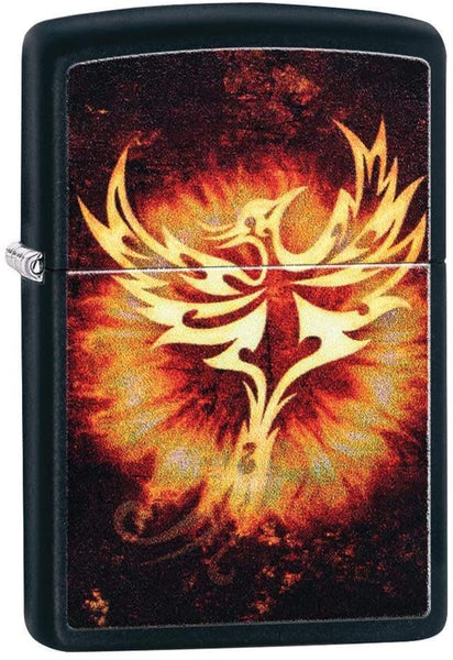 Zippo Phoenix Flame Design, Black Matte Finish, Windproof Lighter #29866
