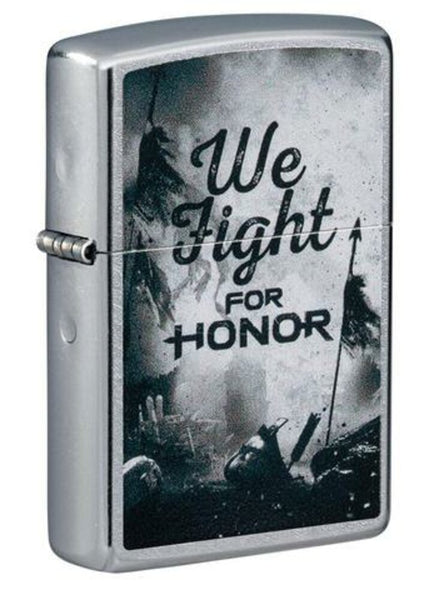 Zippo We Fight For Honor Gaming, Street Chrome Finish, Windproof Lighter #49243