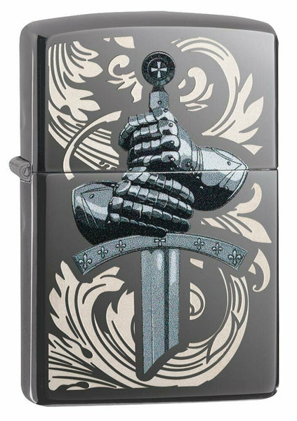 Zippo Medieval Knights Glove and Sword, Black Ice Finish Pocket Lighter #49127