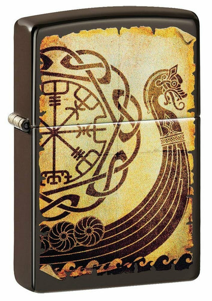 Zippo Viking Warship Design, Brown Genuine Windproof Pocket Lighter, USA #49182